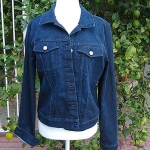 Jessica Simpson stretch dark denim jacket L